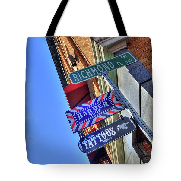 Tote Bag featuring the photograph North End Boston Signs - Bacco by Joann Vitali