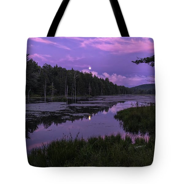 Tote Bag featuring the photograph North Pond Blue Moon by Tom Singleton