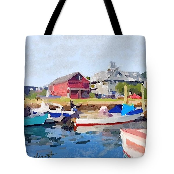North Shore Art Association At Pirates Lane On Reed's Wharf From Beacon Marine Basin Tote Bag by Melissa Abbott