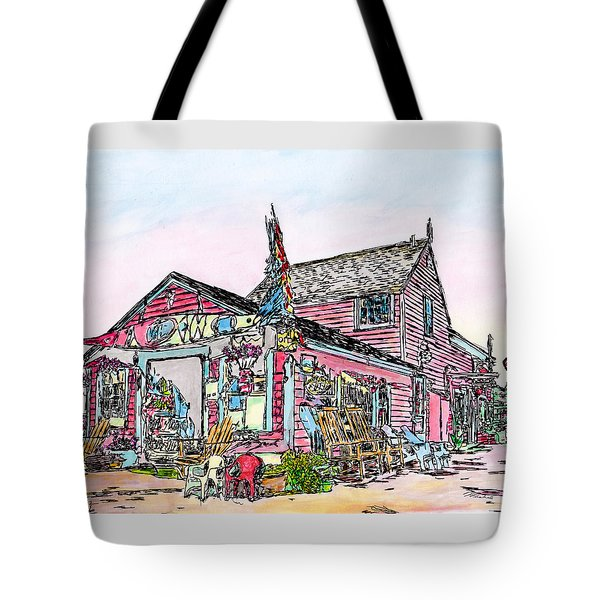 Tote Bag featuring the drawing North Shore Kayak Shop, Rockport Massachusetts by Michele A Loftus