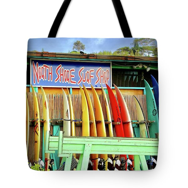 Tote Bag featuring the photograph North Shore Surf Shop 1 by Jim Albritton