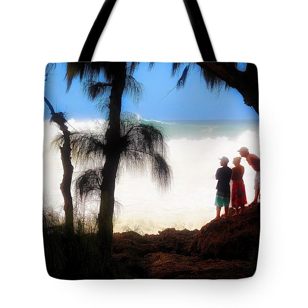 Tote Bag featuring the photograph North Shore Wave Spotting by Jim Albritton