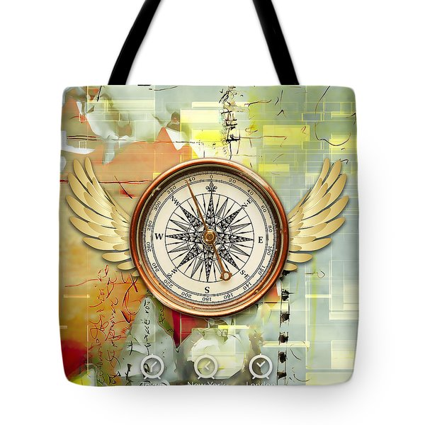 Tote Bag featuring the mixed media North, South, East And West by Marvin Blaine