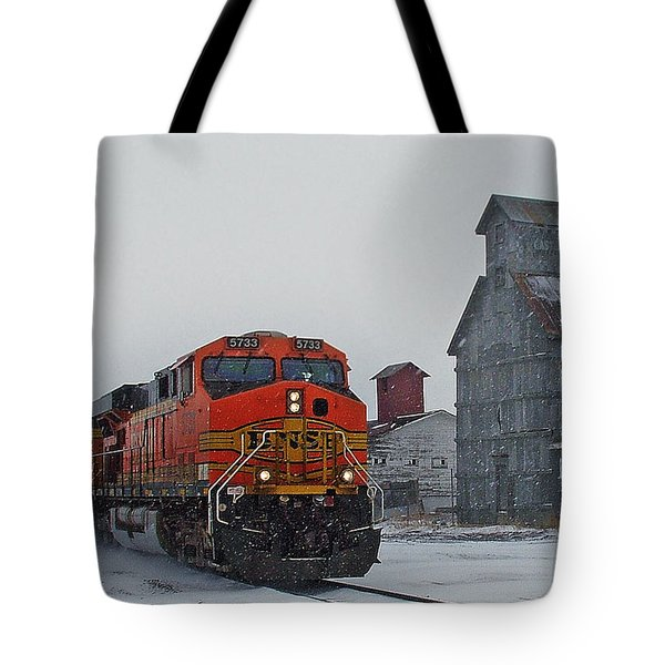 Northbound Winter Coal Drag Tote Bag by Ken Smith
