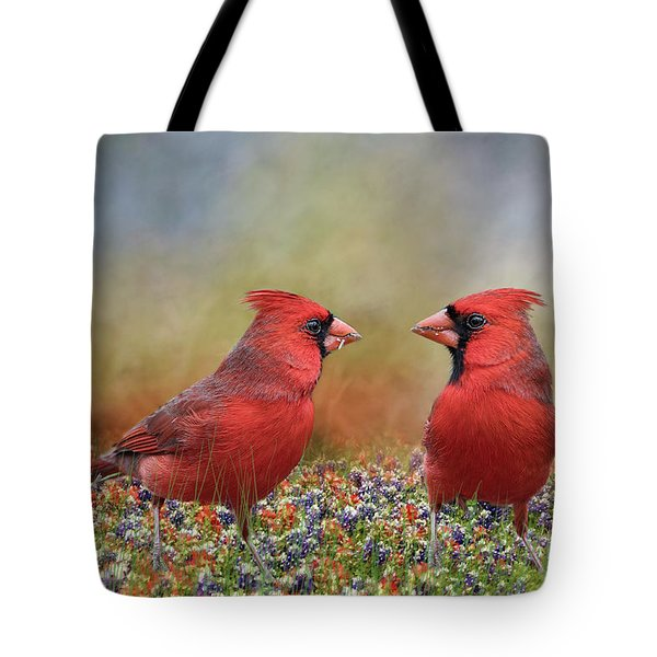 Northern Cardinals In Sea Of Flowers Tote Bag by Bonnie Barry