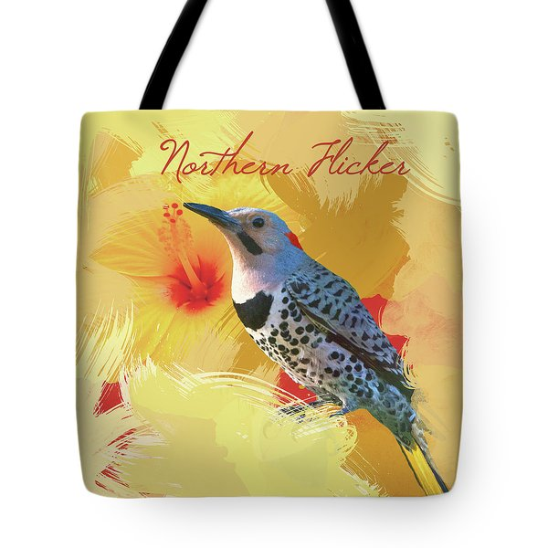 Tote Bag featuring the photograph Northern Flicker Watercolor Photo by Heidi Hermes