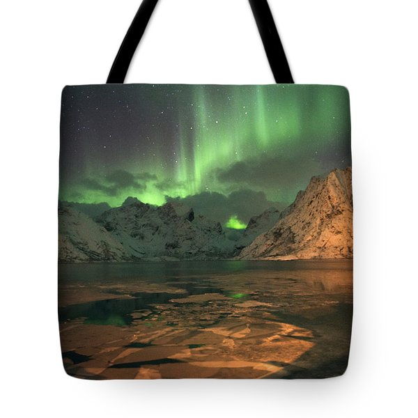 Northern Light In Lofoten, Nordland 1 Tote Bag