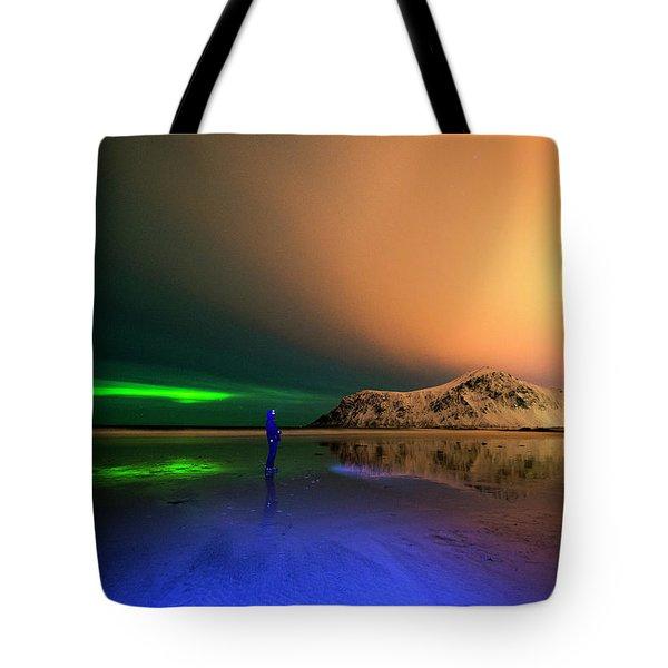 Northern Light In Lofoten, Nordland 4 Tote Bag