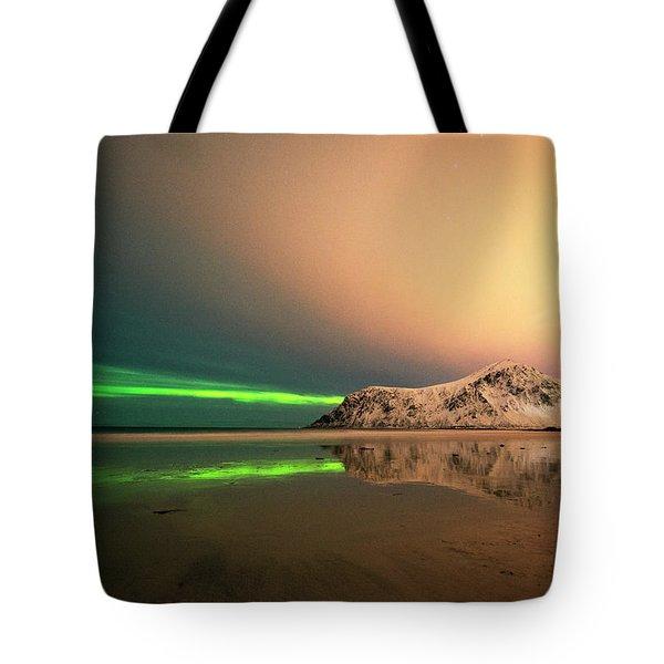 Northern Light In Lofoten Nordland 5 Tote Bag
