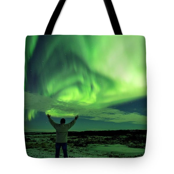 Tote Bag featuring the photograph Northern Light In Western Iceland by Dubi Roman