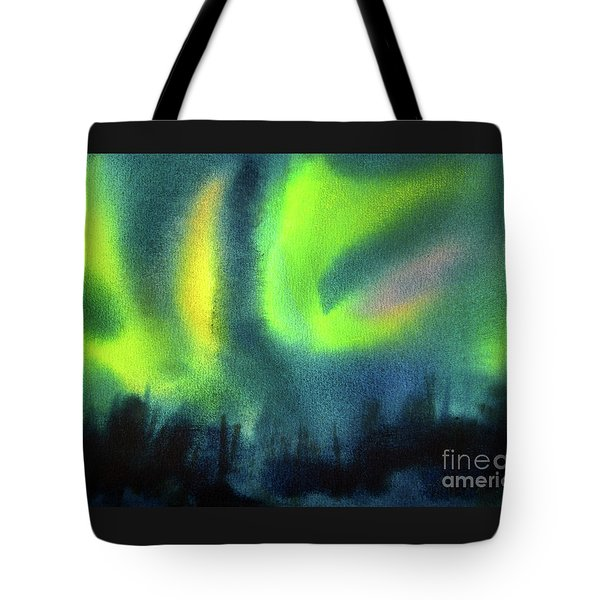 Tote Bag featuring the painting Northern Lights 3 by Kathy Braud