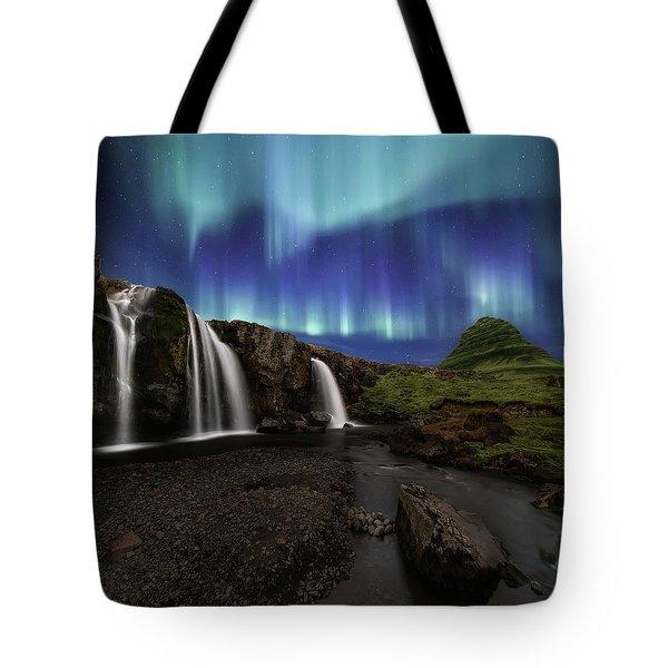 Northern Lights At Kirkjufellsfoss Waterfalls Iceland Tote Bag
