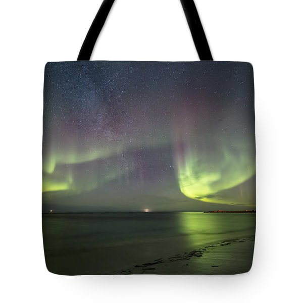 Northern Lights At The Beach II Tote Bag