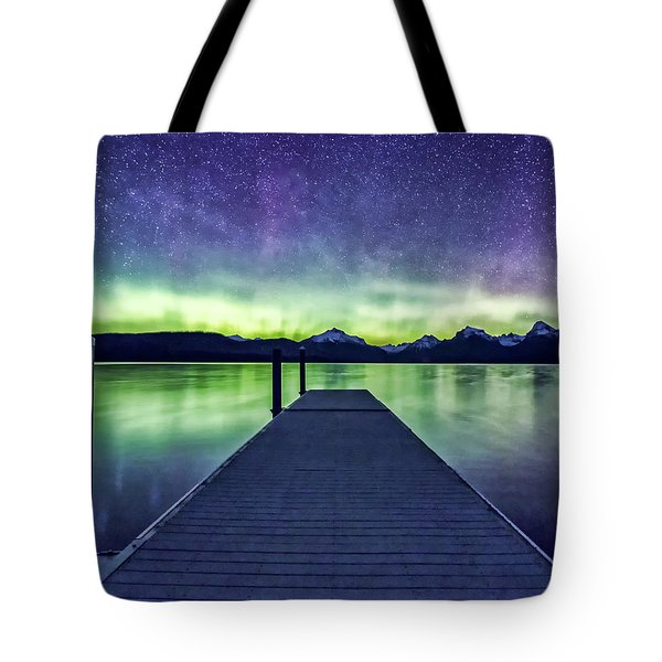 Northern Lights Glacier National Park Tote Bag
