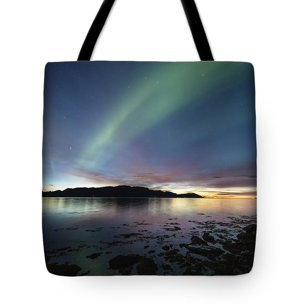 Northern Lights Meet Sunset Tote Bag