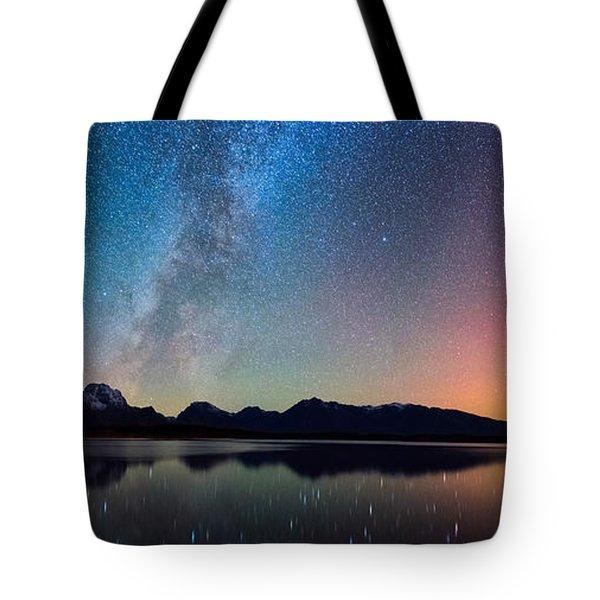 Northern Lights Over Jackson Lake Tote Bag