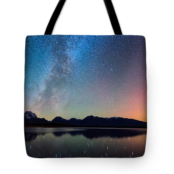 Northern Lights Over Jackson Lake Tote Bag