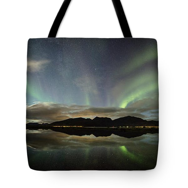 Northern Lights Panorama Tote Bag
