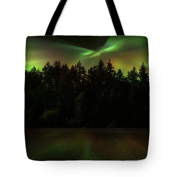 Northern Lights Woodland  Tote Bag