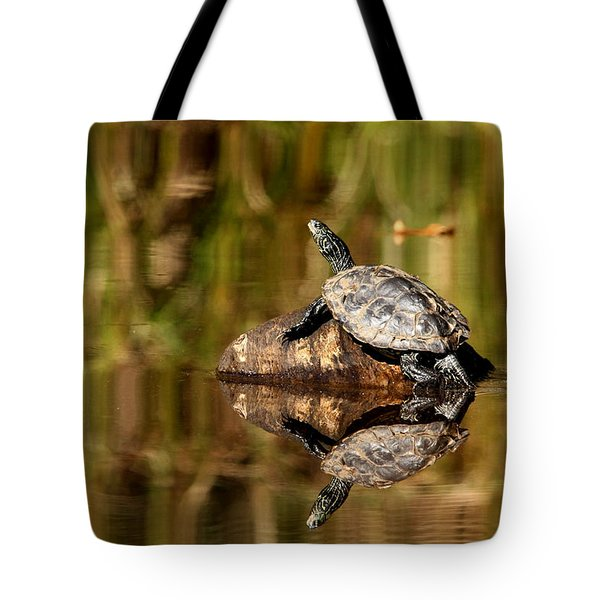 Northern Map Turtle Tote Bag