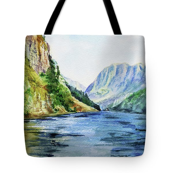 Northern Mountain Lake Watercolor Tote Bag