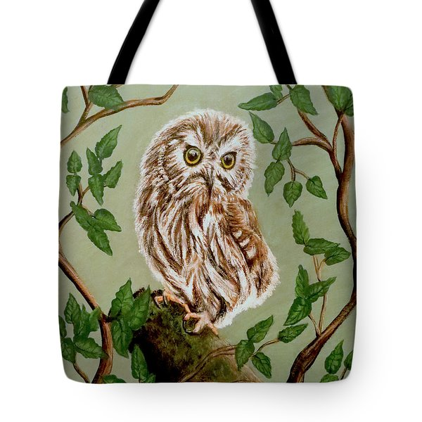 Northern Saw-whet Owl Tote Bag by Teresa Wing