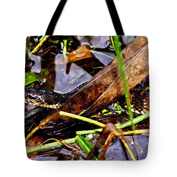 Tote Bag featuring the mixed media Northern Water Snake by Olga Hamilton