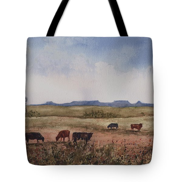 Tote Bag featuring the painting Northwest Oklahoma Cattle Country by Sam Sidders