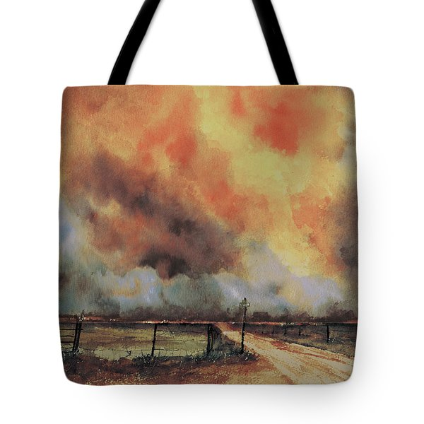 Tote Bag featuring the painting Northwest Oklahoma Wildfire by Sam Sidders