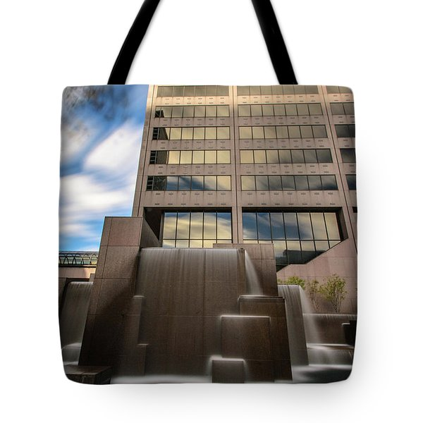Tote Bag featuring the photograph Northwestern Mutual Waterfall by Randy Scherkenbach