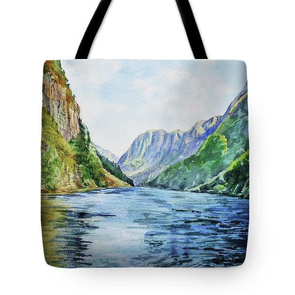 Norway Fjord Watercolor Landscape Tote Bag