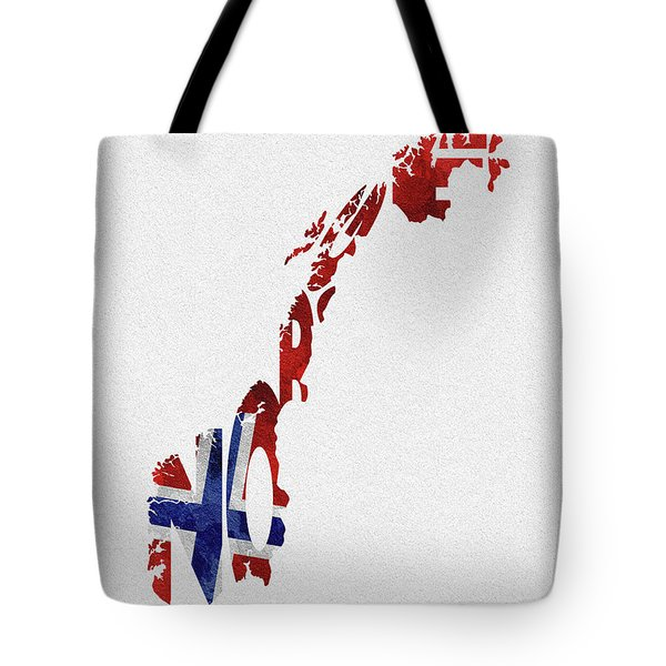 Norway Typographic Map Flag Tote Bag
