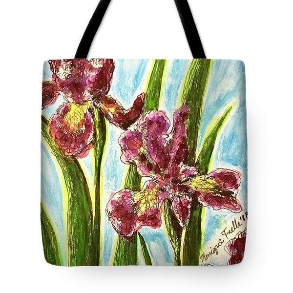 Tote Bag featuring the painting Nostalgic Irises by Monique Faella