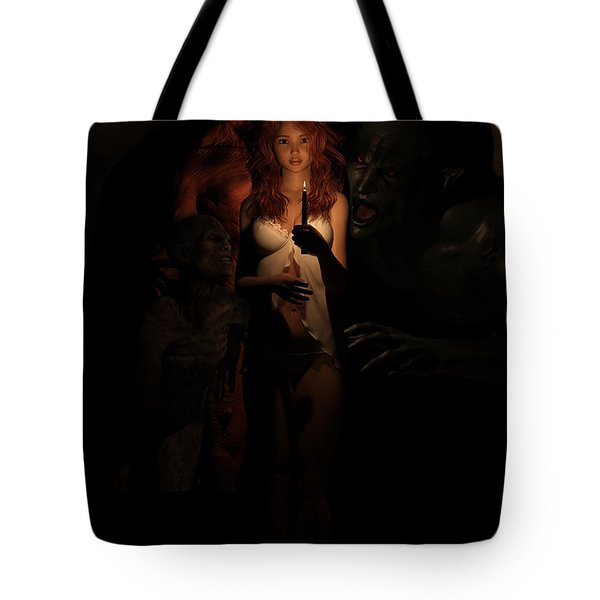 Not Alone In The Dark Tote Bag by Andy Renard