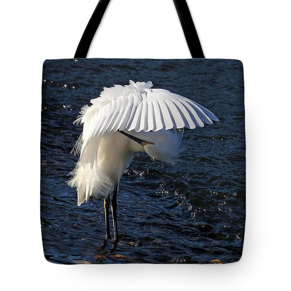 Not Under Here - Birds - Snowy Egret Tote Bag by HH Photography of Florida