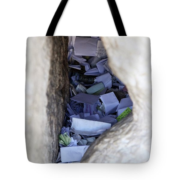Tote Bag featuring the photograph Notes In The Wailing Wall  by Yoel Koskas
