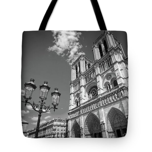 Notre Dame Black And White Tote Bag