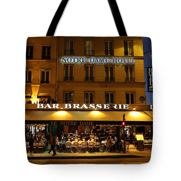 Tote Bag featuring the photograph Notre Dame Cafe by Andrew Fare