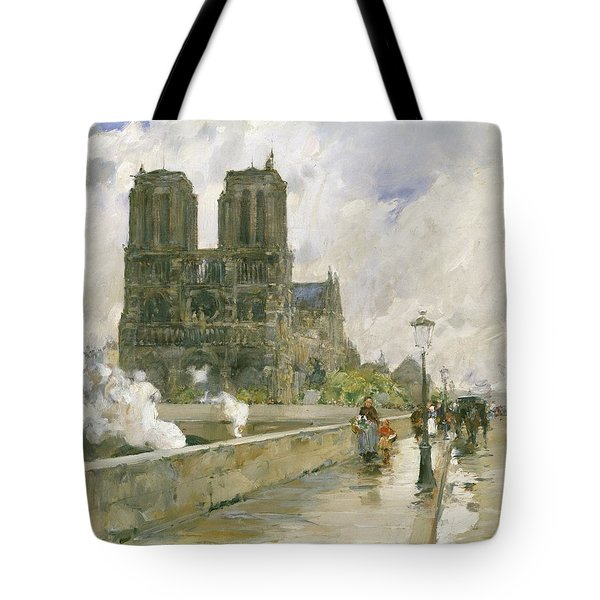 Notre Dame Cathedral - Paris Tote Bag by Childe Hassam