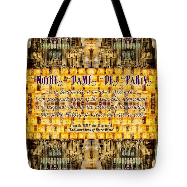 Notre-dame Cathedral Rose Stained Glass Candles Novel Quote Tote Bag