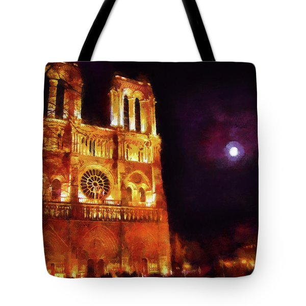 Tote Bag featuring the painting Notre Dame In The Autumn Moonlight by Menega Sabidussi