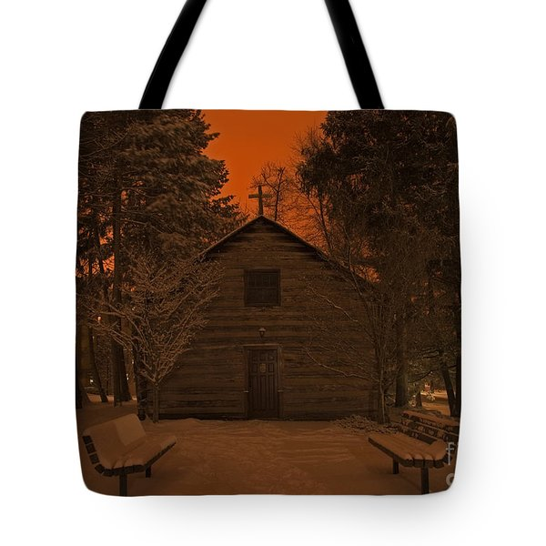 Notre Dame Log Chapel Winter Night Tote Bag by John Stephens