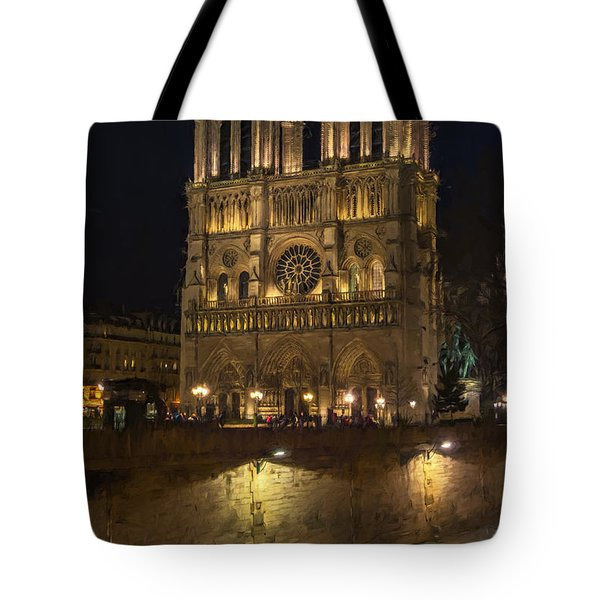 Notre Dame Night Painterly Tote Bag