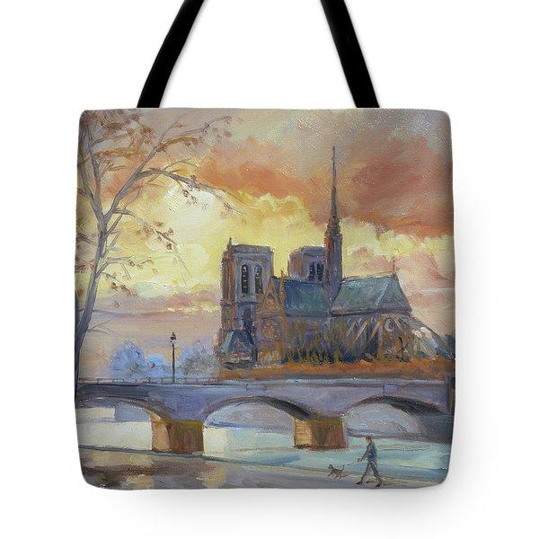 Notre Dame - Sunset, Paris Tote Bag