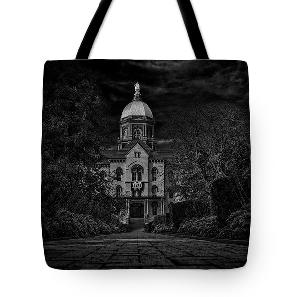Tote Bag featuring the photograph Notre Dame University Golden Dome Bw by David Haskett