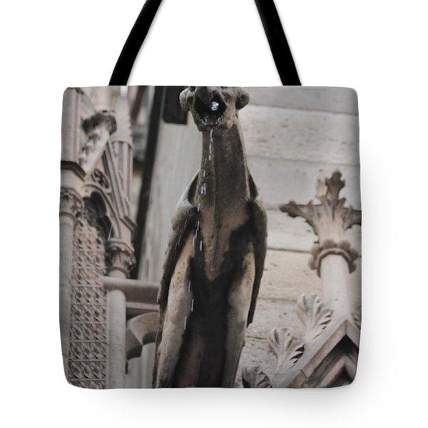 Rain Spouting Gargoyle. Tote Bag by Christopher Kirby