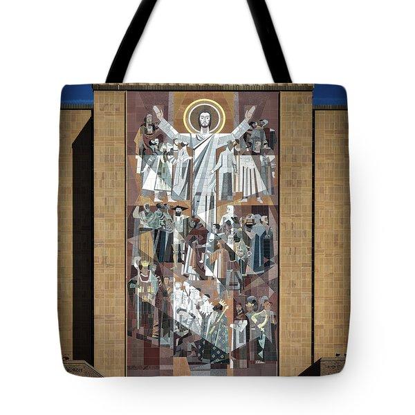 Notre Dame's Touchdown Jesus Tote Bag by Mountain Dreams