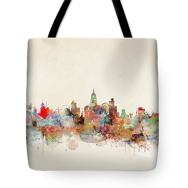 Tote Bag featuring the painting Nottingham City Skyline by Bri B