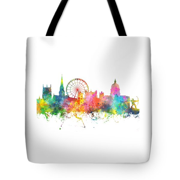 Nottingham  England Skyline Tote Bag