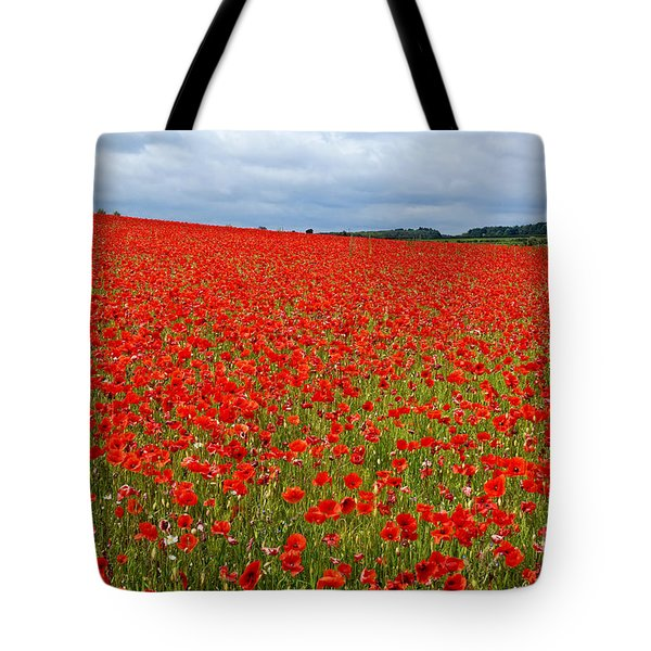 Tote Bag featuring the photograph Nottinghamshire Poppy Field by David Birchall
